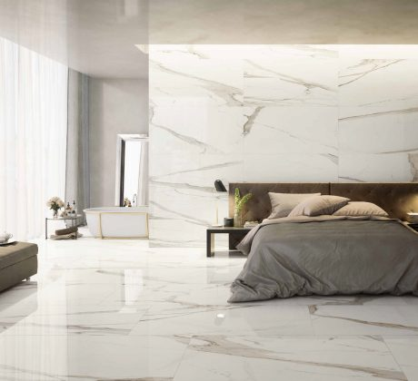 Polished Calacatta slabs available at Groove Tiles & Stone